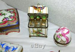 11 Pc Estate Lot Limoges Boxes Signed Hand Painted France Perfumes Inkwell Chest