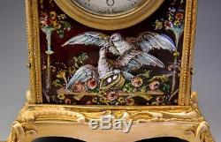 1900 French Hand Painted Limoges Enamel on Copper & Gilt Bronze Clock Music Box
