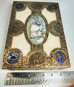 1920s French Enamel and Bronze Jewelry Box With Hand-Painted Characters Scene