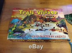 1965 MARX Mini Playset TROLL VILLAGE Incomplete RARE Hand Painted with box, mat