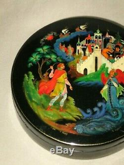 1976 Russian Lacquer Box Palekh Fairytail Art Hand Painted Trinket Box Signed