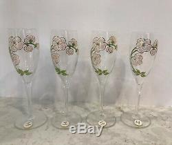 1988 PERRIER JOUET Champagne Gift Box hand painted Bottle & 4 Flute Glasses