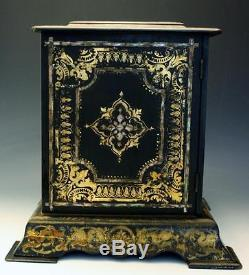 19C Black Lacquer Paper Mache Victorian Tea Cabinet with MOP Inlay Hand Painted