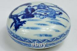 19th Chinese GUANGXU MARK AND PERIOD Blue White Porcelain Seal Paste Box