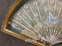 19th c Hand Painted French Fan with Mother of Pearl Handles in Shadow Box Frame