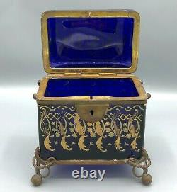 19th c. Moser Bohemian Blue Enameled Glass Casket Hinged Box with Floral Enamel
