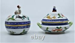 2 Herend Hand Painted Covered Dishes Bone China Boxes Asian Poisson Koi fish