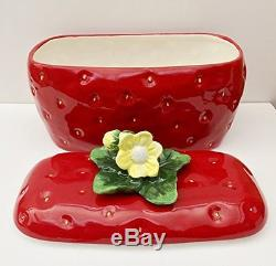3-D Strawberry Hand-Painted Ceramic Bread Box/Toast Jar 13-3/4L, 83575 by ACK