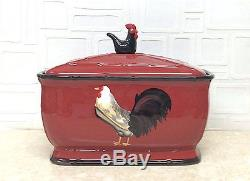 #86775 Tuscany Roamer Rooster Hand Painted Bread box, by ACK 9.15.12.7