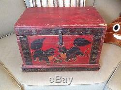 AMAZING TIBETAN TREASURE TRUNK/BOX ANTIQUE HAND PAINTED WOW