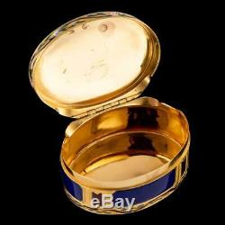 ANTIQUE 18thC FRENCH 18k GOLD & HAND PAINTED ENAMEL SNUFF BOX c. 1770