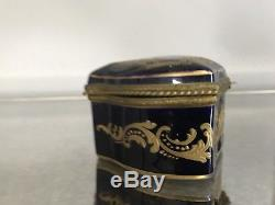 ANTIQUE 19C SEVRES HANDPAINTED COURTING COUPLE JEWELRY TRINKET BOX Restored