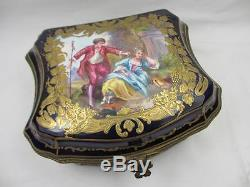 ANTIQUE 19TH C SEVRES FRENCH HAND PAINTED GILDED PORCELAIN & BRONZE BOX SIGNED