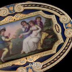 ANTIQUE 19thC SWISS 18k GOLD & HAND PAINTED ENAMEL SNUFF BOX c. 1800