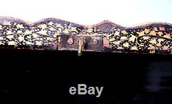 ANTIQUE CHINESE EXPORT LACQUER BOX WINGED DRAGON FEET HAND PAINTED GILDED DECOR