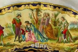 ANTIQUE FRENCH FAN HAND PAINTED & GILDED COBALT BLUE & ORIG. BOX c. 1840