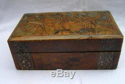 ANTIQUE VINTAGE OLD RUSSIAN WOODEN POKER WORK BOX WARRIOR ARCHERS HAND PAINTED