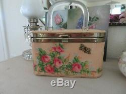 Adorable Vintage HAND PAINTED ROSES withBee Pink Box Purse 1940's to 50's