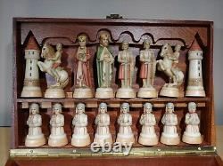 Anri Toriart Charlemagne Hand-Painted Sculptite Figural Chess Set with Box