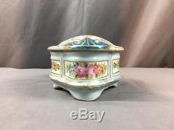 AntQ Made In France Limoges Hand Painted Ladies Trinket Porcelain Box Precious