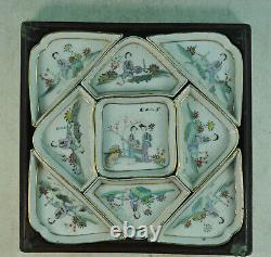 Antiqu 7 Pcs Chinese Porcelain Hand Painted Small Plate Dish Set in Wooden Box
