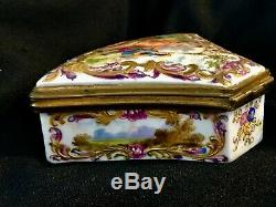 Antique 18 century hand painted porcelain box from 1763 Franch gilded bronze