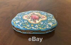Antique 18th 19th c. Bilston Battersea Enamel Box Purse Hand Painted Silk Lining