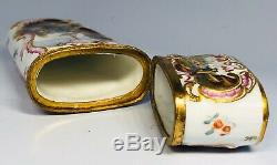 Antique 18th Century German Hand-Painted Porcelain Bronze Hinged Sewing Kit Case