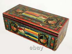 Antique 1900 MEXICAN Hand Painted OLINALA Folk Art CHEST TRUNK Eagle & Serpent