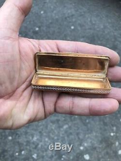 Antique 19th C French Enamel Hand Painted 18ct Gold Snuff Box With Babies Birds