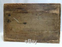 Antique 19th Century Wood Handpainted Stencil Document Brides Box 12 inch long