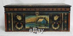 Antique 19th c Continental Folk Art Delightfully Hand Painted Blanket Chest yqz
