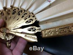 Antique A. Rodien France 7.25 Silk Hand Painted Fan Orig Box