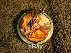Antique Austrian Guilloche Enamel Sterling Silver Lovers Hand Painted Compact