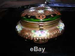 Antique Bohemian Moser Trinket Box Green and Gold