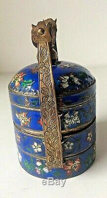Antique Chinese Enamel Cloisonne Miniature Staked Spice Box