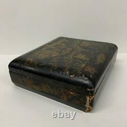 Antique Chinese Gilt Lacquer Games Box 19th Century Mother of Pearl Tokens