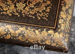 Antique Chinese Gilt Lacquer Games Box 19th Century Qing Dynasty Oriental