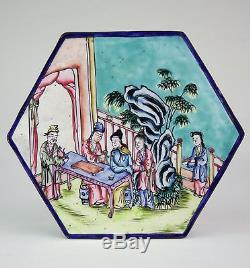 Antique Chinese Hand Painted Canton Enamel 6 Sided Box Qing Early Republic