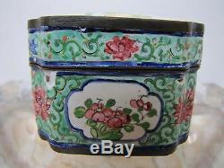 Antique Chinese Hand-Painted Porcelain Enamel Over Copper Storage Box