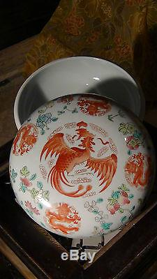 Antique Chinese Porcelain Hand Painted Dragons&pheasants Box With LID