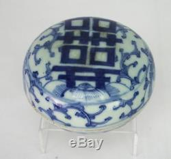 Antique Chinese Porcelain Ink Paste Box Hand Painted Blue and White