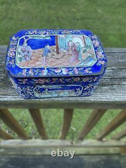 Antique Chinese Qing Hand Painted Very Fine Brass Canton Enamel Box