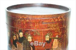 Antique Chinese Round Wooden Box with Hand Painted Scene