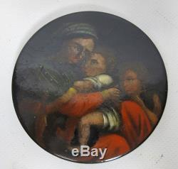 Antique Continental 1800's Lacquered Hand Painted Mother/Child Snuff Box #2 yqz