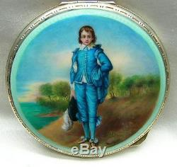 Antique Continental Sterling Silver Enamel Hand Painted Compact Snuff Box Boy