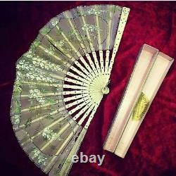 Antique Early 20 French Silk Hand Painted Hand Fan Bone Sticks With Original Box