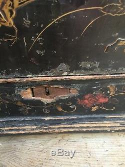 Antique Early Pine Chinoiserie Table Box Chest Cranes / Bird Relief Work