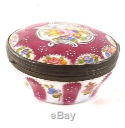 Antique Enamel Box Decorated With Hand Painted Flowers