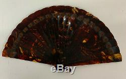 Antique Fan Horn Brise Hand Painted 19th Century with original Fan Box